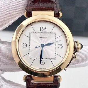 Cartier 卡地亚W3019351帕莎系列18k纯金自动机械表