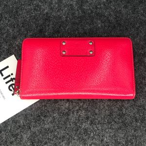 Kate Spade 凯特丝蓓胭脂红拉链款长款钱包手拿包