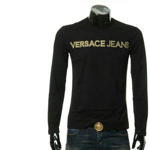 Versace Jeans VJ 范思哲刺绣字母男士长袖圆领T恤