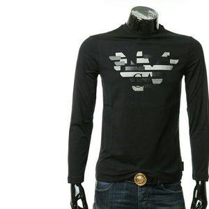 Emporio Armani阿玛尼男士鹰标修身长袖T恤