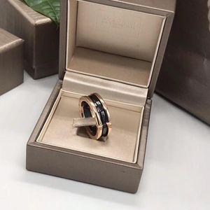 BVLGARI 宝格丽玫瑰金三环黑陶瓷戒指