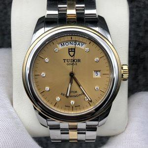 Tudor 帝舵骏珏系列56003-68063金盘镶钻黄金圈黄金及钢表带自动机械表