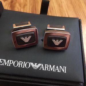 Emporio Armani 安普里奥·阿玛尼方形纯银袖扣