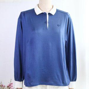 Dior迪奥YF08103清新海军蓝刺绣长袖T恤POLO衫