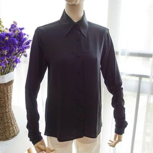 FENDI芬迪YF08094纯黑重磅真丝褶皱袖金扣长袖衬衫