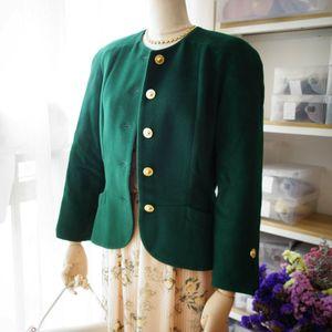 Dior 迪奥YF08096vintage高贵墨绿金扣羊毛呢上衣外套