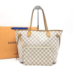 Louis Vuitton 路易·威登白色棋盘格子母nf手提包