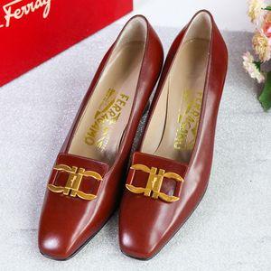 Ferragamo 菲拉格慕XZ08187棕色经典马蹄扣全皮单鞋皮鞋