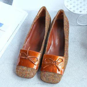 Bottega Veneta葆蝶家XZ10002毛绒漆皮蝴蝶结真皮鞋