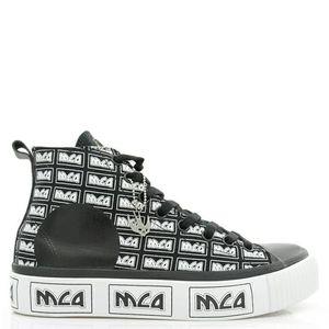 Alexander McQueen 亚历山大·麦昆男士字母中帮帆布鞋板鞋