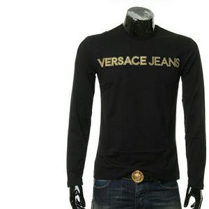 Versace Jeans范思哲刺绣字母男士长袖圆领T恤