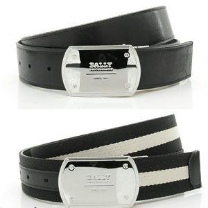 BALLY 巴利真皮拼帆布男士2面用腰带