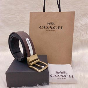 COACH 蔻驰加宽版双面双色牛皮复古礼盒腰带