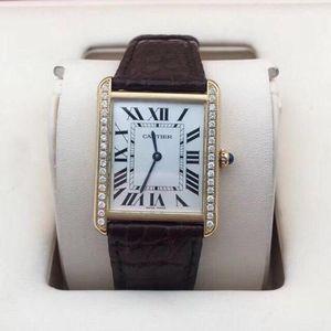 Cartier 卡地亚坦克系列18K黄金后镶钻女士石英腕表