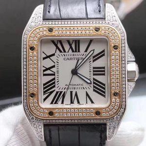 Cartier 卡地亚桑托斯系列间金后镶钻自动机械男士腕表