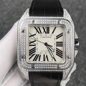 Cartier 卡地亚桑托斯系列后镶钻自动机械男士腕表