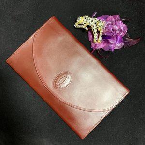 Cartier 卡地亚经典波尔多红信封款全皮手包