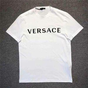 Versace 范思哲男士白色LOGO刺绣基础款百搭T恤
