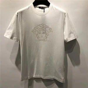 Versace 范思哲男士VRAE经典款金色美杜莎烫钻短袖白T恤