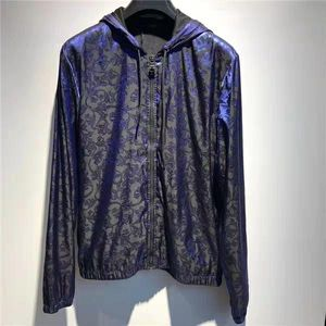 Versace 范思哲男士VRAE深蓝色巴洛克风格荆棘图腾连帽夹克