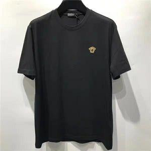 Versace 范思哲男士VRAE金线美杜莎刺绣黑色T恤