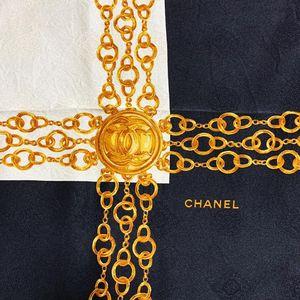 CHANEL 香奈儿黑金珠宝系列真丝大方巾