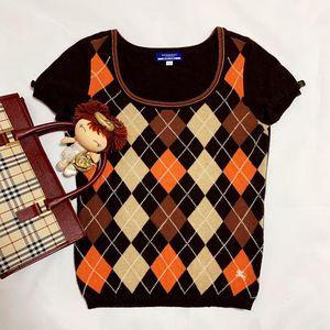 Burberry 博柏利深咖色彩色菱格纹羊毛针织衫