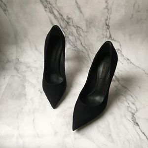 Louis Vuitton 路易·威登黑色翻毛皮细高跟鞋