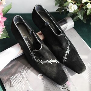 BALLY 巴利XZ04170黑色麂皮高跟单鞋