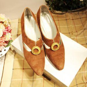 Dior 迪奥棕色麂皮金环高跟鞋