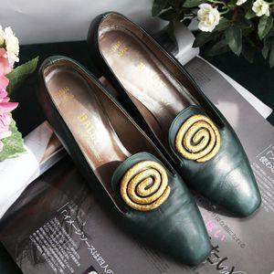 BALLY 巴利XZ04186橄榄绿小牛皮跟低单鞋
