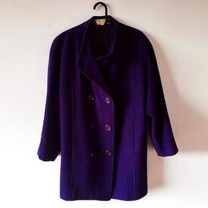 Nina Ricci 莲娜丽姿西服领双排扣羊绒羊毛大衣