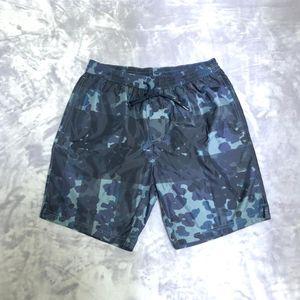 Burberry 博柏利蓝灰迷彩男士尼龙沙滩休闲裤