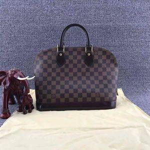 Louis Vuitton 路易·威登alma中号经典棕色棋盘格手提单肩贝壳包