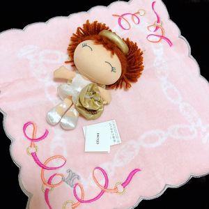 Celine赛琳刺绣樱花粉毛绒荷叶边方巾
