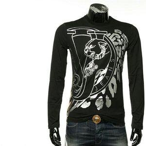 Versace Jeans范思哲男士休闲烫银长袖圆领T恤