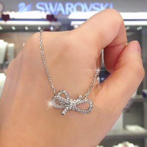 SWAROVSKI 施华洛世奇蝴蝶结银色两用流苏项圈锁骨项链