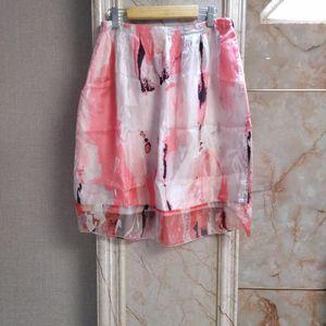 Marisfrolg 玛丝菲尔粉色水彩真丝半裙