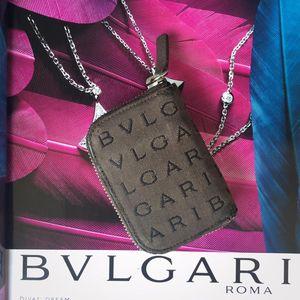 BVLGARI 宝格丽字母老花布料配纯皮拉链钥匙零钱包