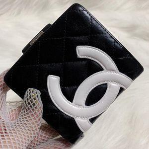CHANEL 香奈儿黑白康鹏系列全皮短款钱包