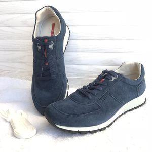 PRADA 普拉达男士深蓝色麂皮休闲运动鞋