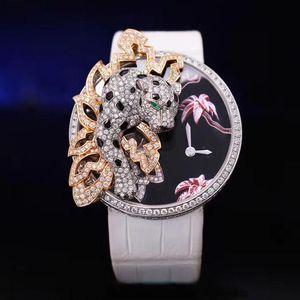 Cartier 卡地亚白金豹子限量款机械腕表