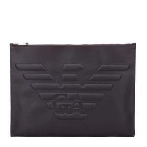 ARMANI 阿玛尼男款棕色PVC手拿包
