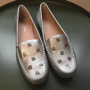 Kate Spade 凯特·丝蓓7码大热银色牛津平底鞋
