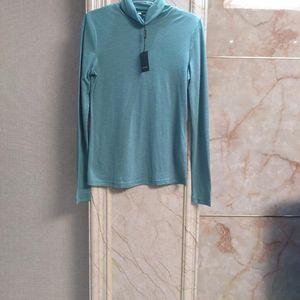 Marisfrolg 玛丝菲尔绿色超薄纯羊毛女士长袖打底衫