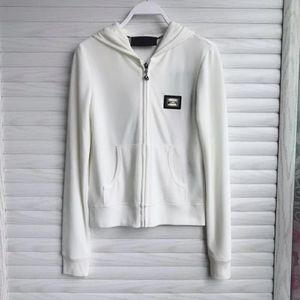 Philipp Plein 菲利普普兰女士天鹅绒白色拉链卫衣外套