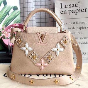 Louis Vuitton 路易·威登米色小牛皮立体贴花CAPUCINES BB手袋