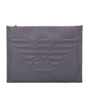 ARMANI 阿玛尼男款灰色PVC手拿包