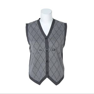 Dior 迪奥羊毛格纹英伦风马甲针织衫