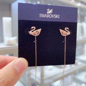 SWAROVSKI 施华洛世奇粉天鹅水晶耳环